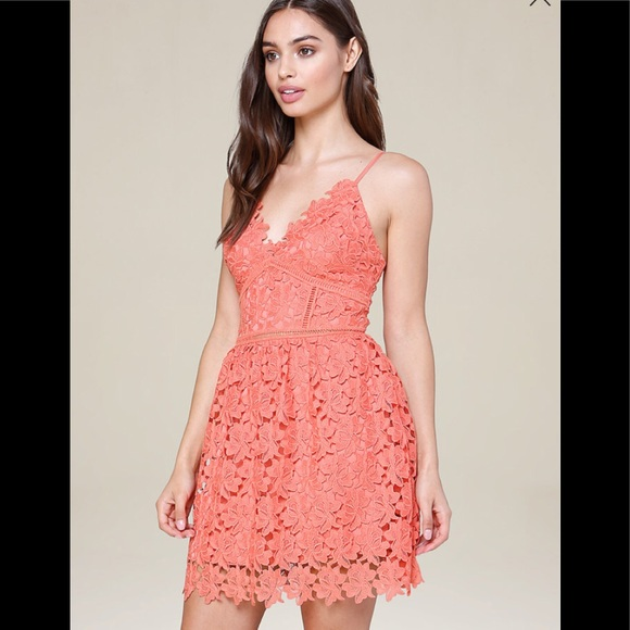faaaeee34220 bebe Dresses | Valentina Coral Lace Dress | Poshmark